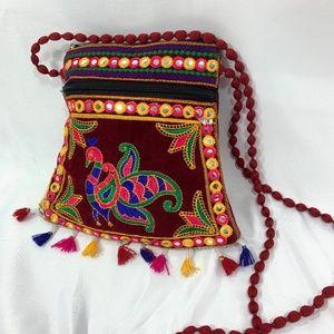 Vintage Indian Shoulder Bag  Embroidered tassels